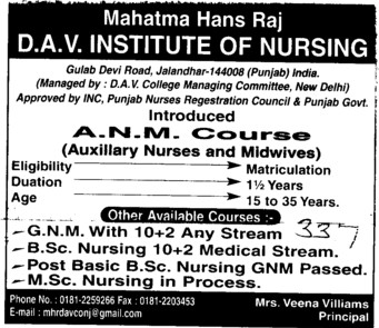 ANM Course 2012 (Mahatma Hans Raj DAV Institute of Nursing)