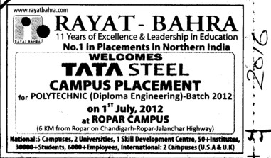Tata Steel Campus Placement (Rayat and Bahra Group)