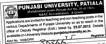 Teaching Positions in various Departments (Punjabi University)
