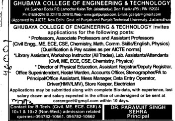 Library Asstt, Workshop Instructor, Prof, Asstt Prof and Associate Professor etc (Ghubaya College of Engineering and Technology GCET)