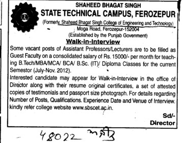 Asstt Professor and Lecturer (Shaheed Bhagat Singh State (SBBS) Technical Campus)