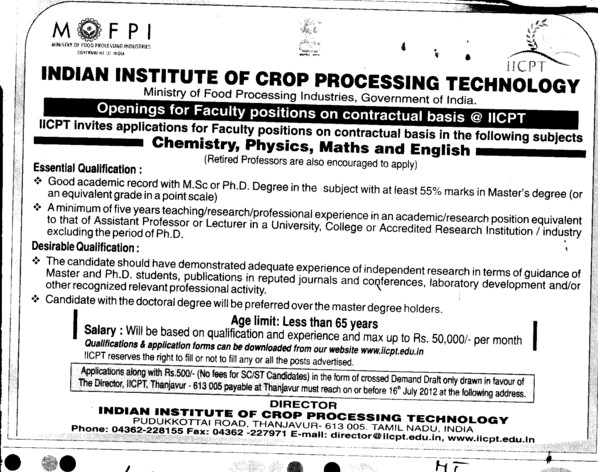 Faculty position on contractual basis (Indian Institute of Crop Processing Technology (IICPT))
