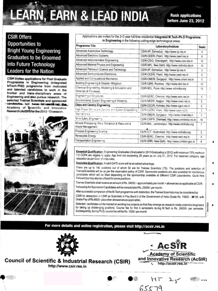 MTech+PhD Programme (Academy of Scientific and Innovative Research (ACSIR))