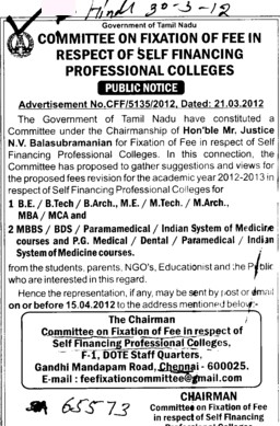 BE, BTech, MTech and MBA Courses etc (Committee on Fixation of Fee in Respest of Self Financing Professional College)