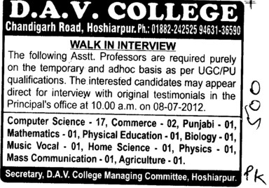 Asstt Professor on Contract basis (DAV College)