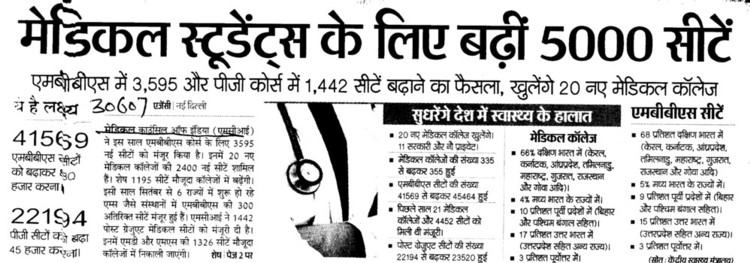 Medical Students ke liye badhi 5000 seats (Medical Council of India (MCI))
