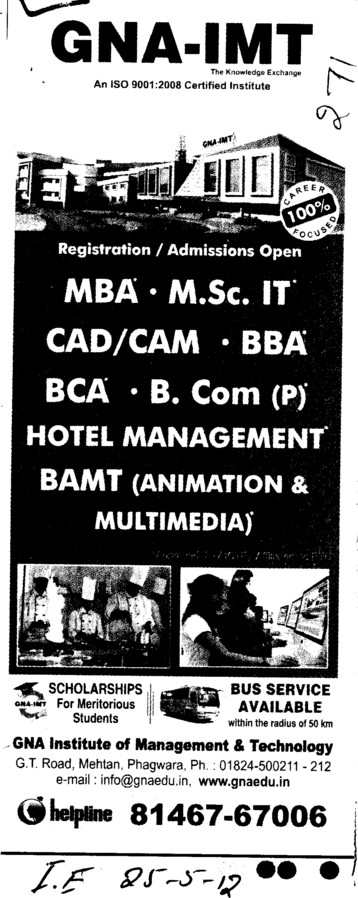 MBA, BCA and BCom etc (GNA Institute of Management and Technology)