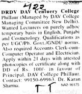 Lecturer on adhoc basis (DRV DAV Centenary College)