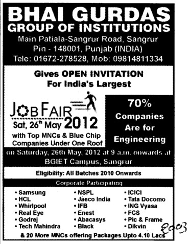 Mega Job Fair 2012 (Bhai Gurdas Group of Institutions)