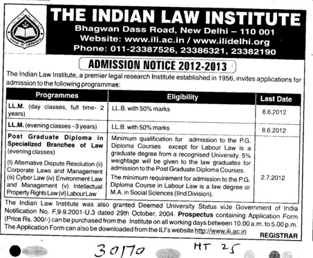 Post Graduate Diploma in Law and LLM (Indian Law Institute)