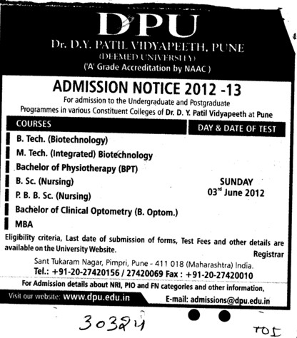 BTech, Mtech and Post Basic BSc Nursing Courses etc (Dr DY Patil University)