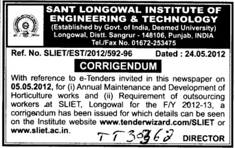 Annual Maintenance and Development of horticulture works (Sant Longowal Institute of Engineering and Technology SLIET)