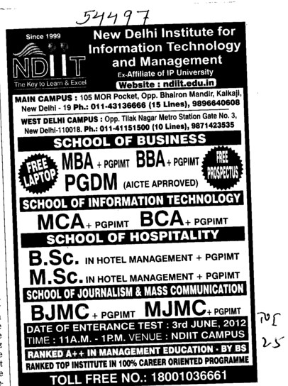 BBA, MCA, MSc and PGDCA Courses etc (New Delhi Institute for Information Technology)