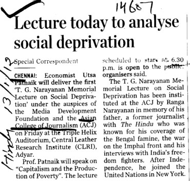 Lecture today to analyse social deprivation (Asian College of Journalism (ACJ))