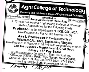 Prof, Asstt Prof and Associate Professor (Agni College of Technology)