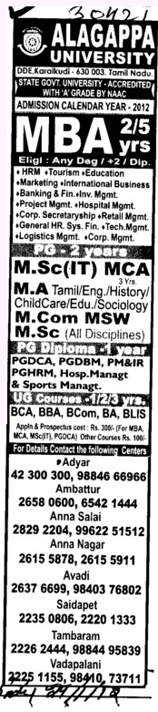 MA, MCA and MSc IT Courses etc (Alagappa University)