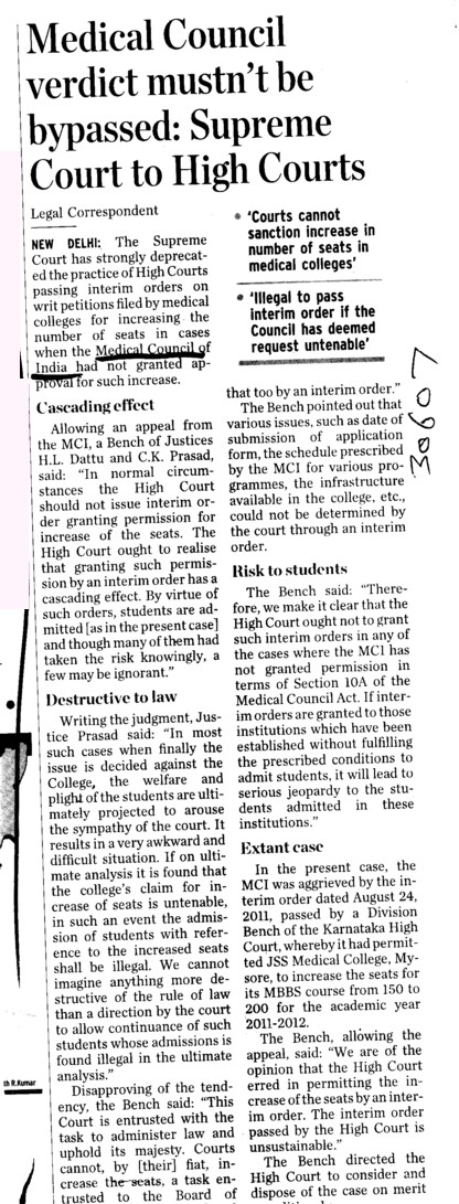 Medical Council verdict must not be bypassed (Medical Council of India (MCI))