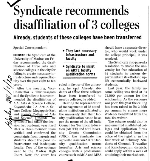 Syndicate recommends disaffiliation of 3 colleges (Poonga College of Arts and Science)