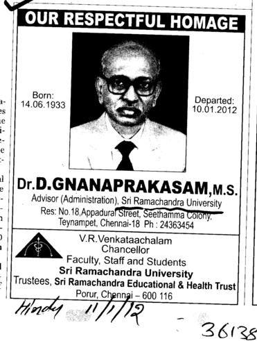 Our Respectful Homage Dr D. Gnanaprakasam (SRM University)