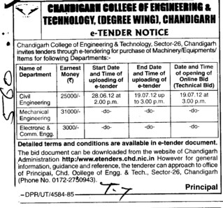 Various types of Equipments (Chandigarh College of Engineering and Technology (CCET))