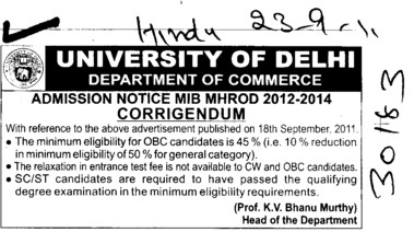 Regarding Admission (Delhi University)
