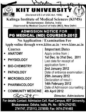 PG Medical Course 2012 (KIIT University)
