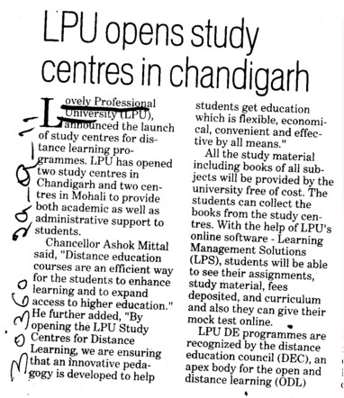 LPU opens study centres in Chandigarh (Lovely Professional University LPU)