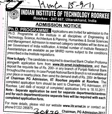 PhD Programme 2012 (National Institute of Technology NIT)