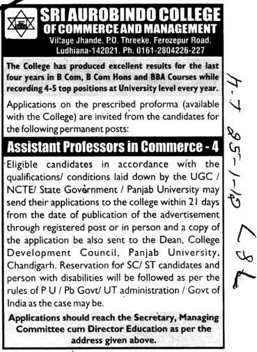 Asstt Professor in Commerce (Sri Aurobindo College of Commerce and Management)