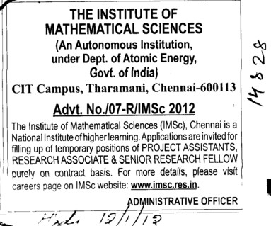 Research Associates and Project Asstt etc (Institute of Mathematical Sciences)