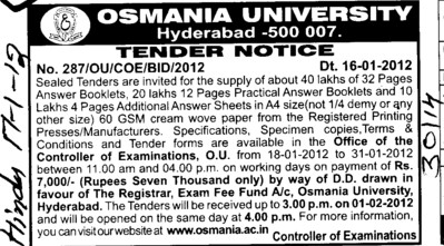 Supply of Answer Booklets (Osmania University)