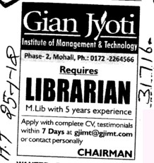 Librarian (Gian Jyoti Institute of Management and Technology (GJIMT))