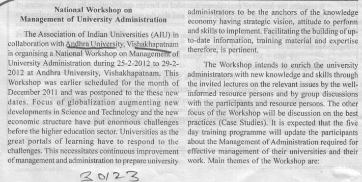 National Workshop on Management of University Administration (Andhra University)