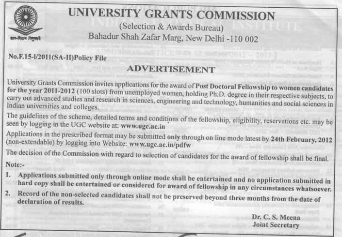 Post Doctoral Fellowship to women (University Grants Commission (UGC))