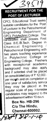 Lecturer (CPCL Polytechnic College)