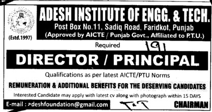 Director and Principal (Adesh Institute of Engineering and Technology (AIET))