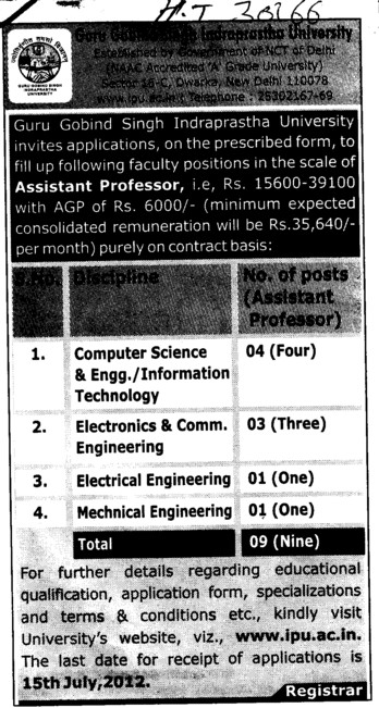Asstt Professor for various streams (Guru Gobind Singh Indraprastha University GGSIP)