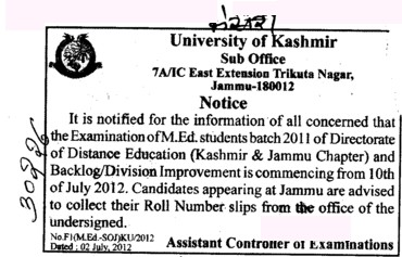 Examination of MEd Students (University of Kashmir Hazbartbal)