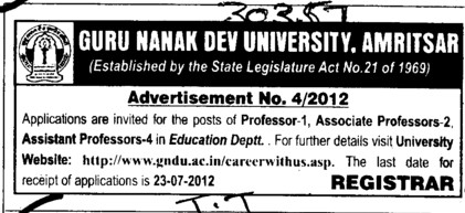 Professor, Asstt Professor and Associate Professor (Guru Nanak Dev University (GNDU))