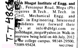 Requires Btech and Mtech in Mechanical and Civil Engg (Desh Bhagat Institute of Engineering and Management)