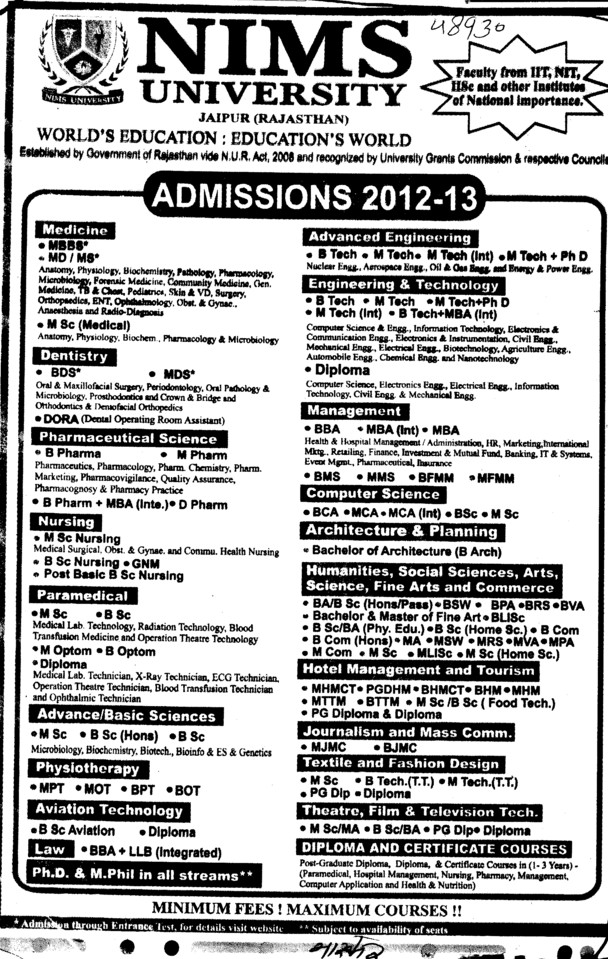 BBA, BCA, MCA, MSc and MBA Courses etc (NIMS University)