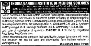 Supply of Teaching and Training Materials (Indira Gandhi Institute of Medical Sciences (IGIMS))