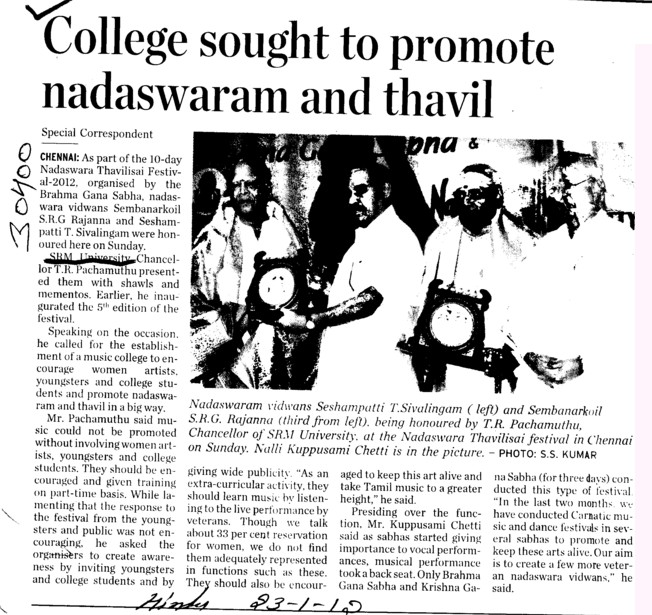College sought to promote nadaswaram and thavil (SRM University)
