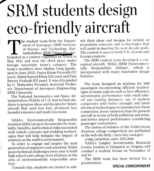 SRM Students design eco friendly aircraft (SRM University)