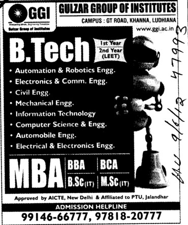 BTech, MTech and MBA Courses etc (Gulzar Group of Instituties Khanna)
