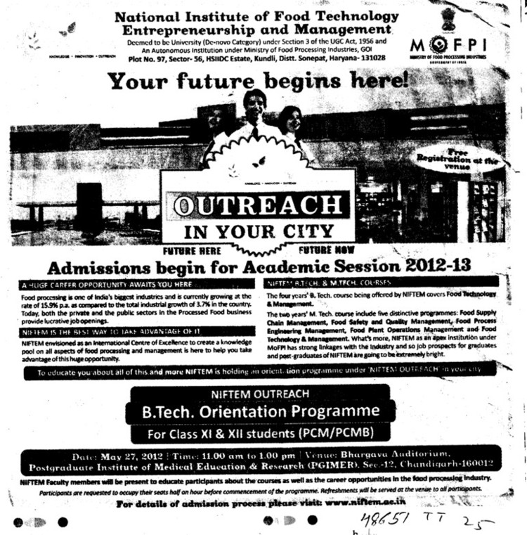 BTech in Orientation Programme (National Institute of Food Technology Entrepreneurship and Management (NIFTEM))