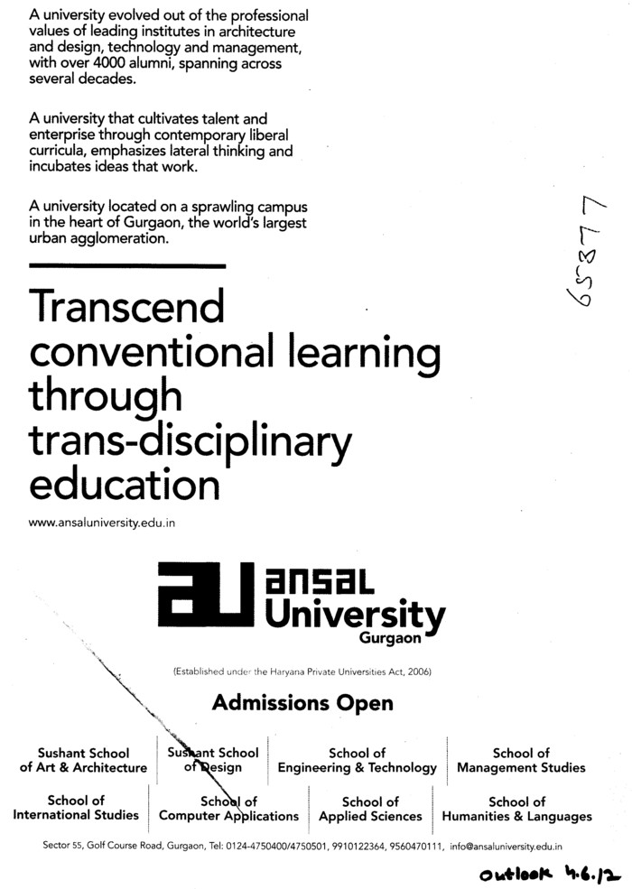Transcend Conventional learning through trans disciplinary education (Ansal University)