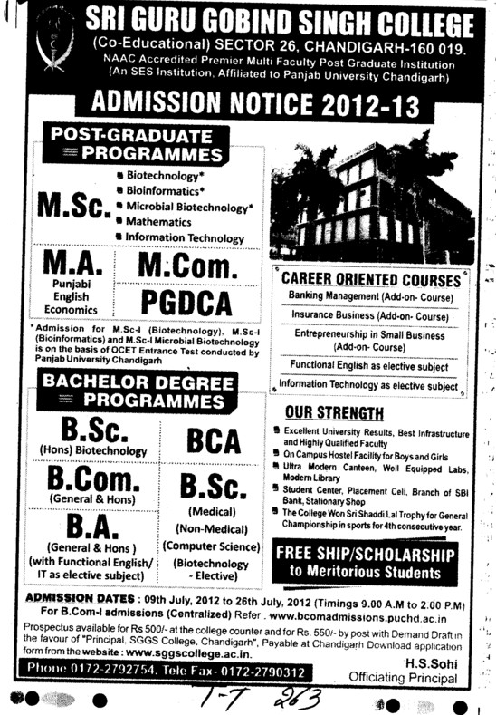 BA, BCA, MA and PGDCA Courses etc (SGGS Khalsa College Sector 26)