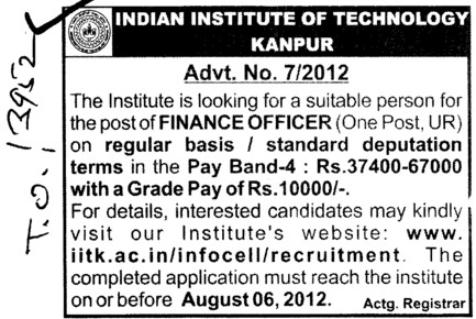 Finance Officer (Indian Institute of Technology (IITK))
