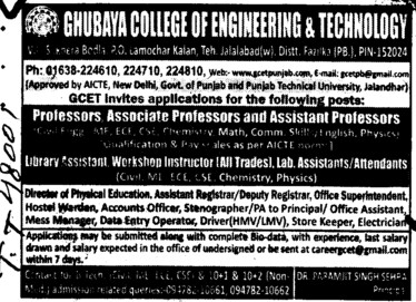 Prof, Asstt Prof and Associate Professor etc (Ghubaya College of Engineering and Technology GCET)